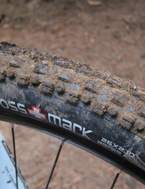 The stock Maxxis Crossmark tires are fast rolling and relatively light but they don't offer nearly enough cornering grip to fully realize the bike's incredible potential