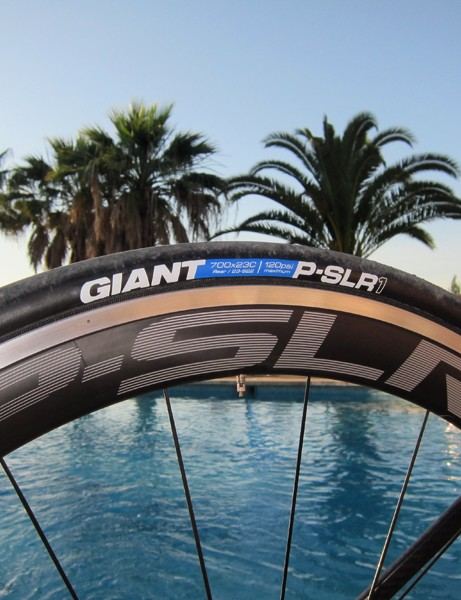 Giant's new P-SLR1 Aero rims measure a versatile 49mm deep for good performance at speed but they're still reasonably light at 1,575g for the pair.