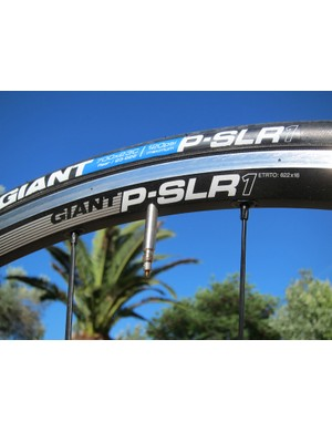 The Giant P-SLR1 rear rim is highly asymmetrical to even out the spoke tension.  Nipple inserts borrowed from DT Swiss's Tricon range leaves the outer rim wall solid and easily compatible with tubeless tires.