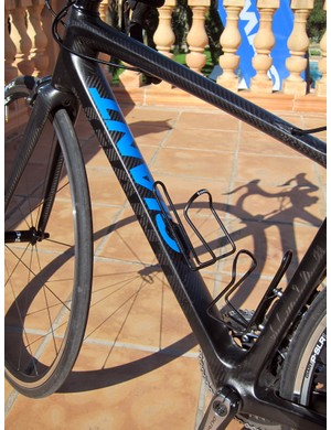 The down tube of the updated Giant TCR range is similar to the previous generation with a highly rectangular cross-section down by the bottom bracket.