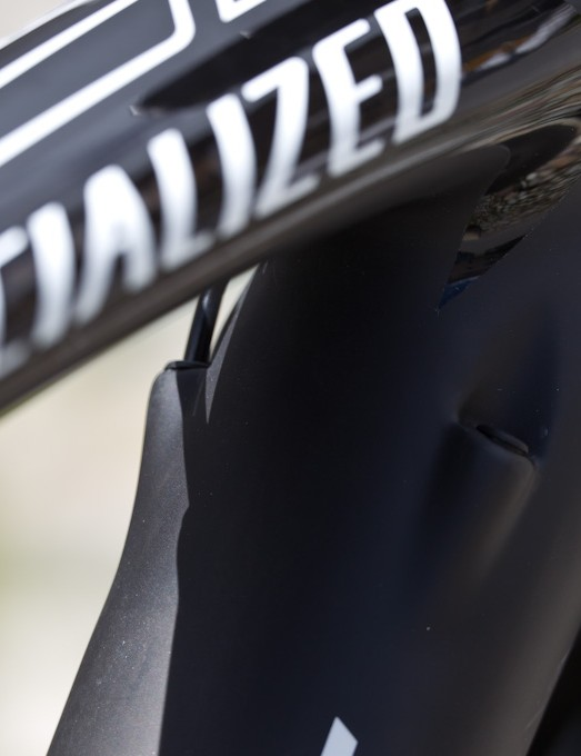 The Tarmac's trademark cobra shaped top tube