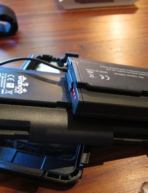 The battery pack mounts to the underside of the case