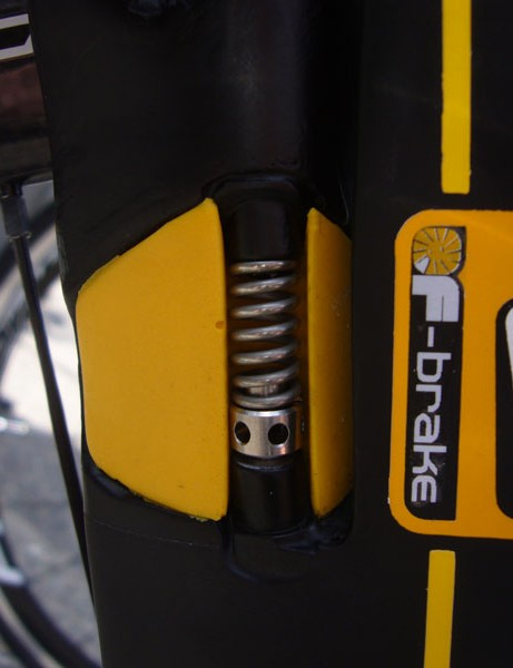 A close up of the front F-brake