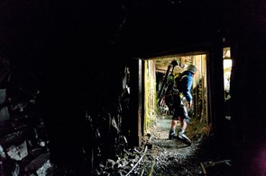 Rob climbs through Honister slate mine