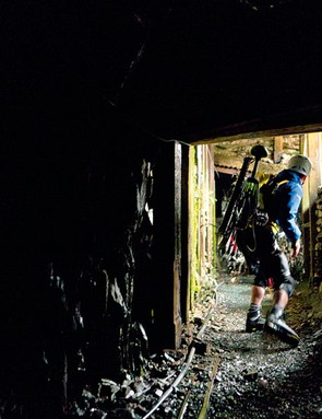 Rob climbs through Honister slate mine