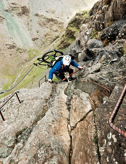 Rob Jarman ascends the via ferrata at Fleetwith Pike, with VooDoo Canzo attached