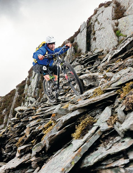 Honister's slate shelves become even more difficult to get across in the rain