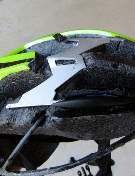 A cut-away better illustrates the internal reinforcements of Cannondale's helmets