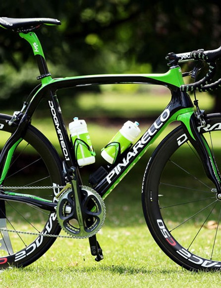 Team Sky's new Pinarello Dogma 2, in rainforest green for the Tour de France