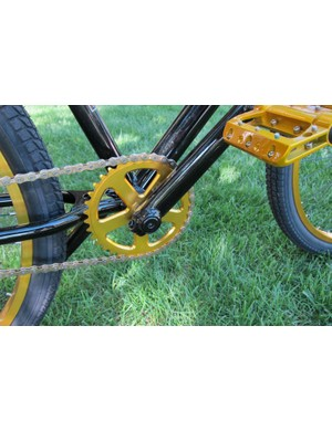 Three piece cranks with a color matched alloy chain wheel