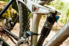 The long rocker linkage helps drive the ever-dependable Fox RP23 shock