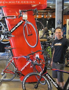 Boulder Cycle Sport co-owner, Taro Smith, with Cervelo's new S5