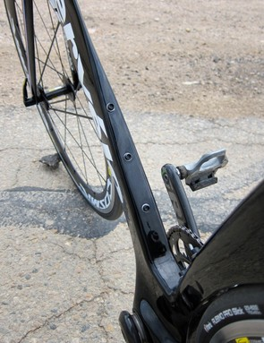 The down tube offers two mounting positions for the water bottle: high for two bottles, or low for one