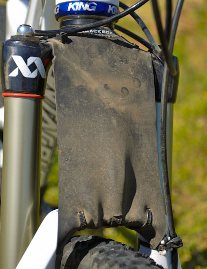Ashland, Oregon has had more than its share of wet weather this year, and Riddle's homemade mudguard is one way to keep spray to a minimum