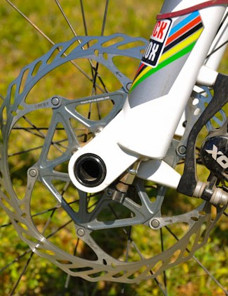 Riddle is running stock SRAM X0 calipers with Avid Clean Sweep X discs