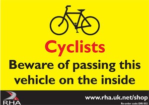 The warning sticker that UK cyclists should be familiar with