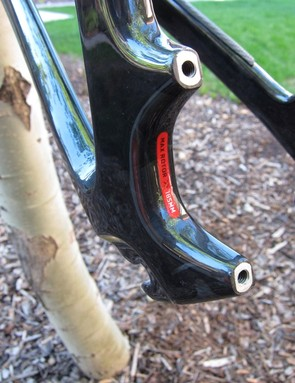 The direct post mount 160mm brake mount is molded from carbon, save for the alloy thread inserts