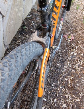 Niner claim enough clearance for a 2.35in tire; a 2.2in Continental's Race King is shown
