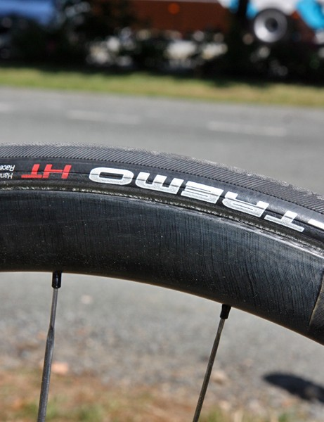 Leopard Trek team bikes are fitted with Schwalbe tubulars mounted atop new Bontrager Aeolus 3.0 36mm-deep carbon wheels