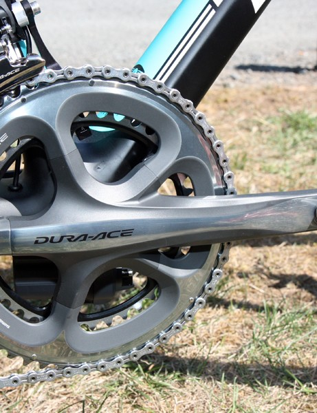 Andy Schleck's (Leopard Trek) Trek Madone is fitted with a box-stock Shimano Dura-Ace crankset