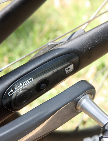 Bontrager's clever DuoTrap wireless speed and cadence sensor plugs into a special pocket in the non-driveside chainstay