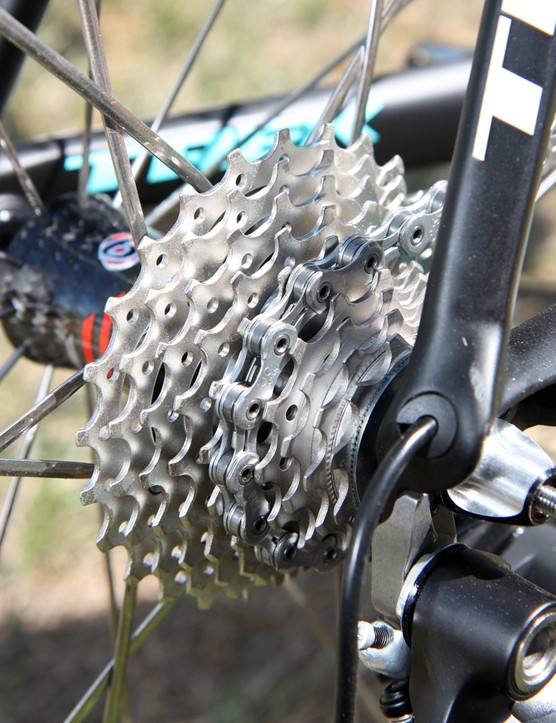 Andy Schleck's (Leopard Trek) bike is fitted with a Shimano Ultegra cassette - likely to help the bike hit the UCI-mandated 6.8kg minimum weight limit