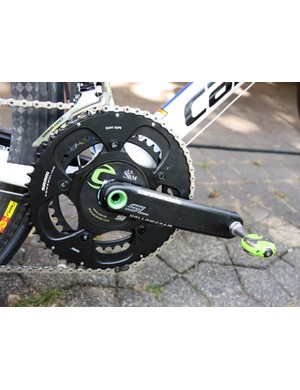 Ivan Basso (Liquigas-Cannondale) is using a Cannondale Hollowgram SL crank fitted with an SRM power meter