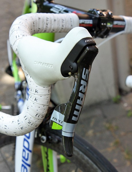 SRAM provide the Liquigas-Cannondale team with custom finished levers