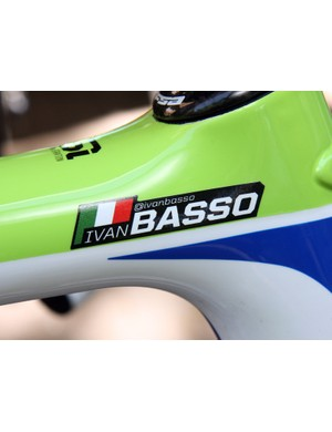 Now this is a first - Ivan Basso's (Liquigas-Cannondale) name decal incorporates his Twitter handle