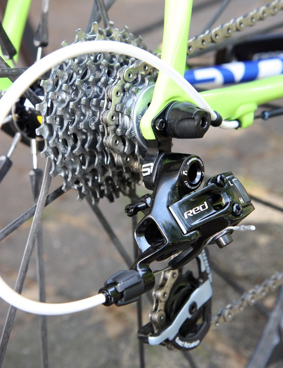 A SRAM Red Black rear derailleur is matched to a SRAM PG-1070 cassette on Ivan Basso's Liquigas-Cannondale rig