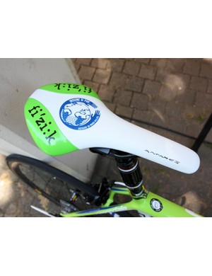 Fi'zi:k supply Ivan Basso (Liquigas-Cannondale) with this custom Antares saddle