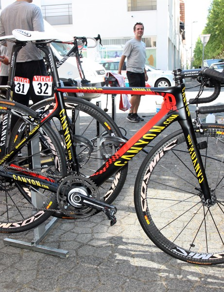 Canyon have supplied four members of the Omega Pharma-Lotto team with custom painted bikes, including this one of new Belgian national road champion Philippe Gilbert