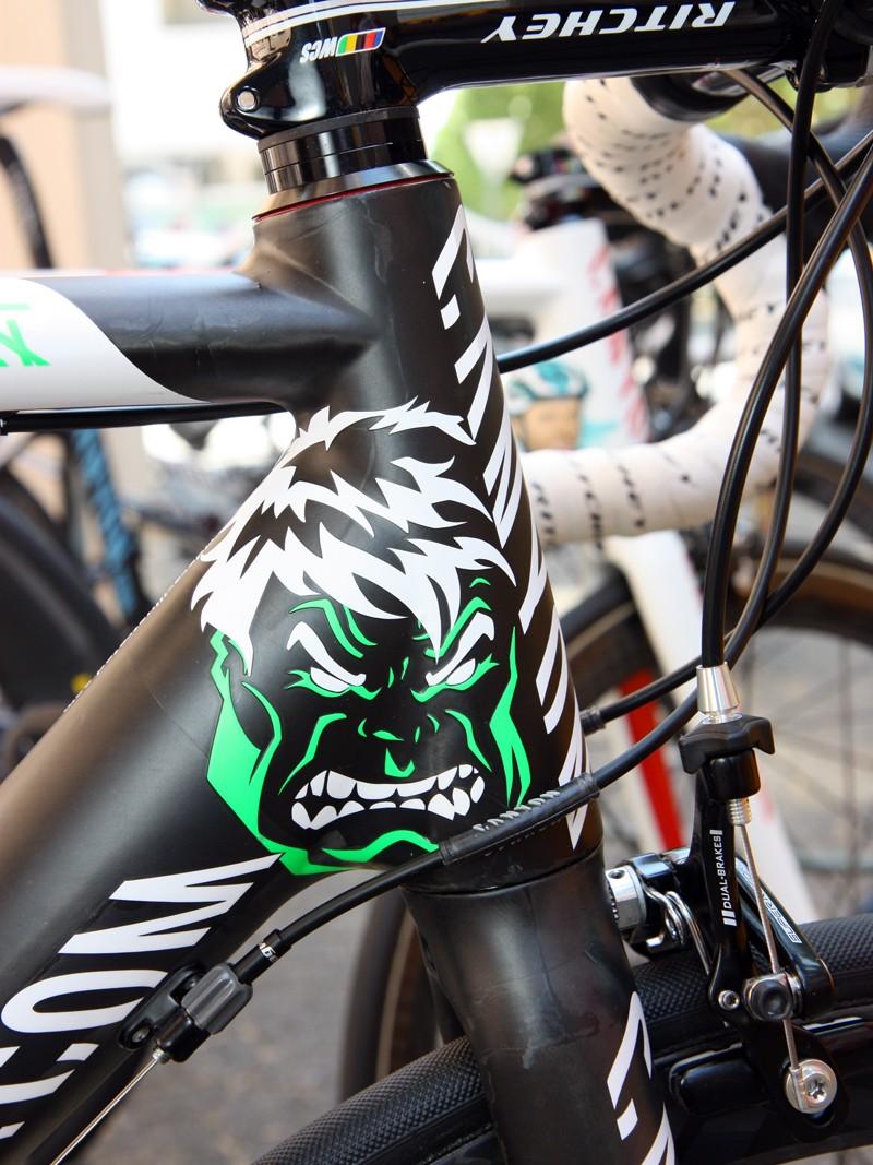 Jurgen Roelandts' (Omega Pharma-Lotto) Canyon Ultimate CF SLX gets the visage of the Incredible Hulk on his bike