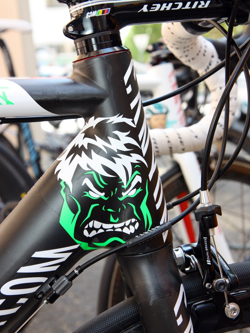 Jurgen Roelandts' (Omega Pharma-Lotto) Canyon Ultimate CF SLX gets the visage of the Incredible Hulk on his bike