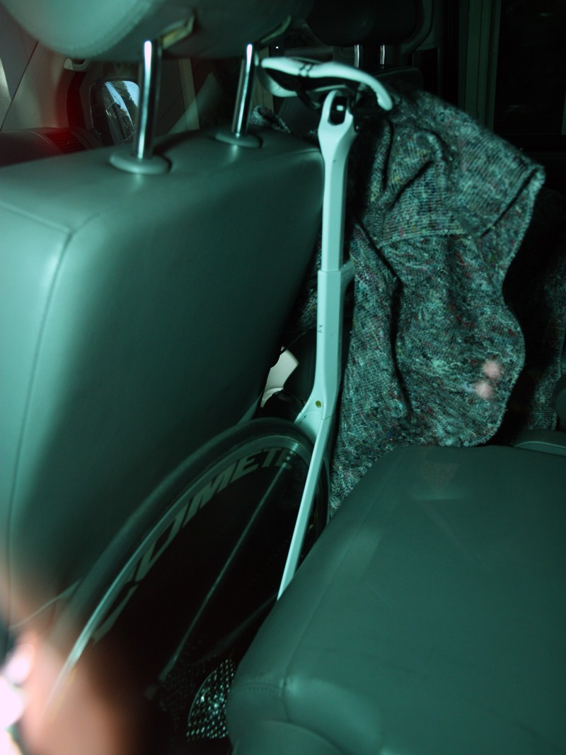 Tucked safely away inside a Canyon company van and under a blanket was a prototype time trial bike that will be fully revealed at Eurobike. We got a sneak peek and it's definitely a major departure from the company's current Speedmax CF