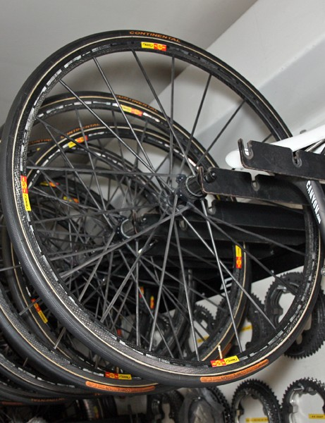 The Omega Pharma-Lotto team are reserving these ultralight Mavic R-Sys Ultimate wheels for the big mountains of this year's Tour de France