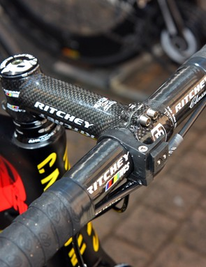 The carbon fiber Ritchey handlebar is clamped in a carbon-wrapped Ritchey stem