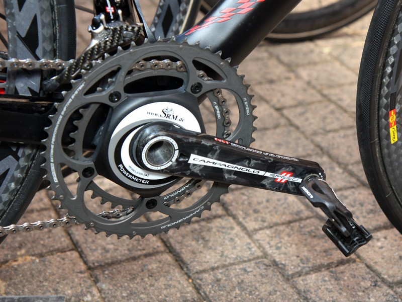 SRM's new Campagnolo-based power meter makes an appearance on the Canyon Aeroad CF of Philippe Gilbert (Omega Pharma-Lotto)