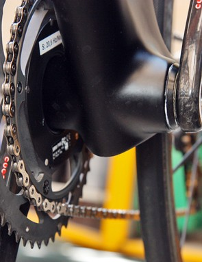 Press-fit bottom bracket bearing cups are used in Canyon's Aeroad CF frame