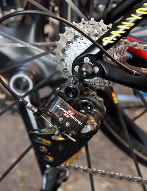 The Campagnolo Super Record rear derailleur is rife with carbon fiber