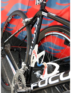 The seat tube on Katusha's Focus Izalco Team frames are highly asymmetrical