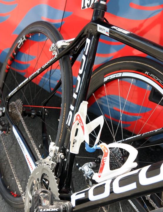 The seat tube on Katusha's Focus Izalco Team frames are highly asymmetrical