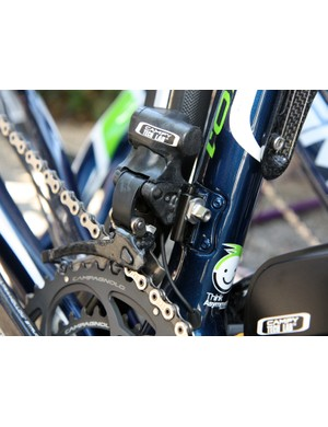 Interesting - Campagnolo's electronic front derailleur attaches to the mounting tab with a nut, not a bolt
