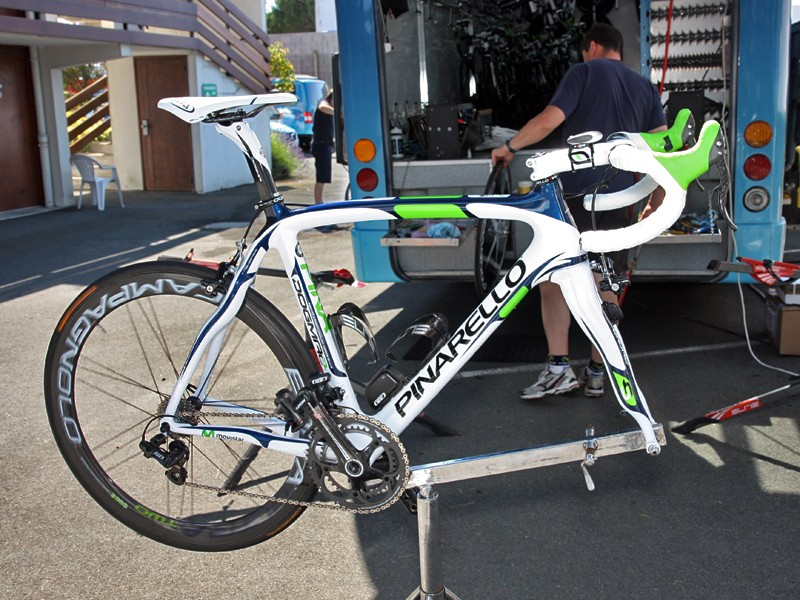Movistar's new Pinarello Dogma2 machines undergo final tweaks on the day before the start of the 2011 Tour de France