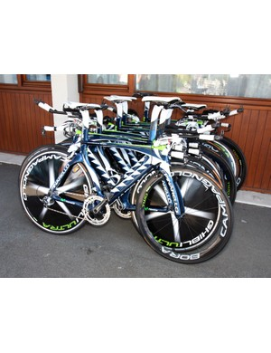 Movistar's fleet of Pinarello Graal time trial bikes lies in wait for Sunday's team time trial