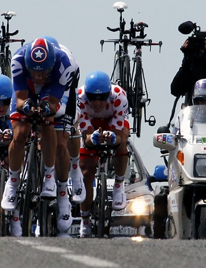 Dave Zabriskie on the front of Garmin-Cervelo