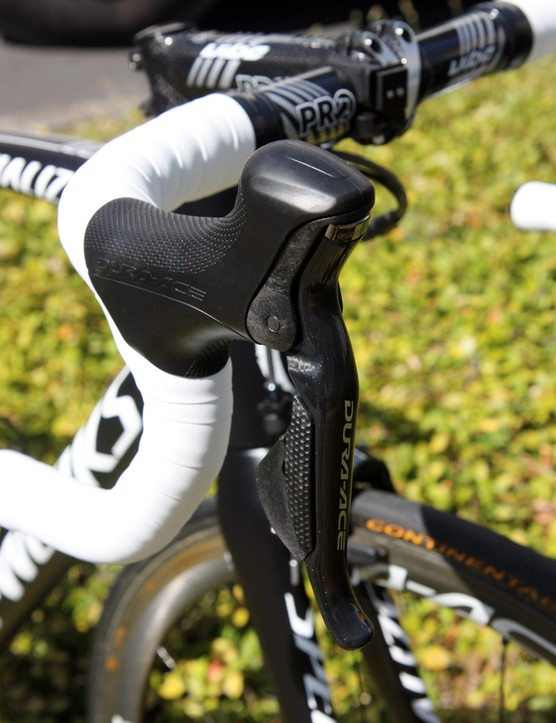 HTC-Highroad team bikes are equipped with Shimano Dura-Ace Di2
