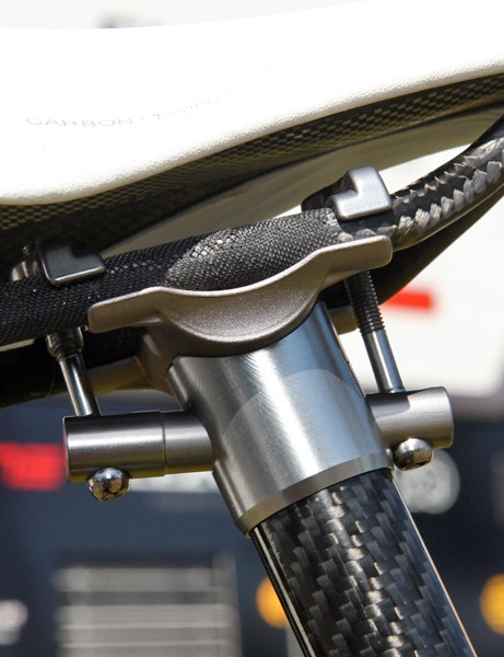 HTC-Highroad sponsors PRO don't currently offer a zero-offset seatpost so Tejay Van Garderen's bike is fitted with an unmarked 3T Dorico instead