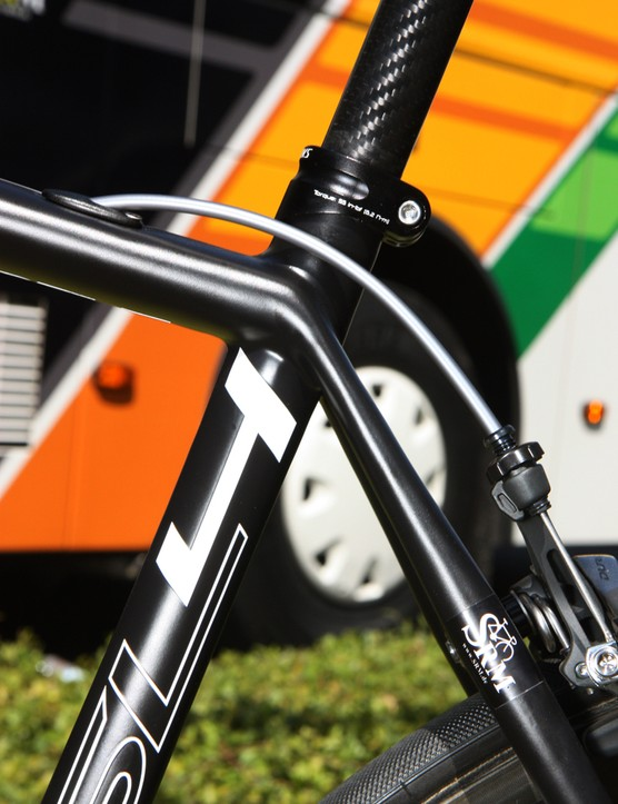 The seatstays are widely spaced but pinched down in height at the seat tube for a more comfortable ride