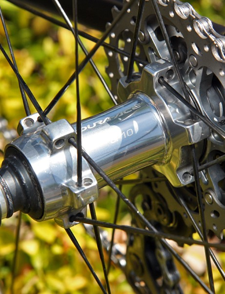 Shimano's latest Dura-Ace hubs use a so-called 'indexed' adjustment mechanism for more precise tuning of the cup-and-cone bearings
